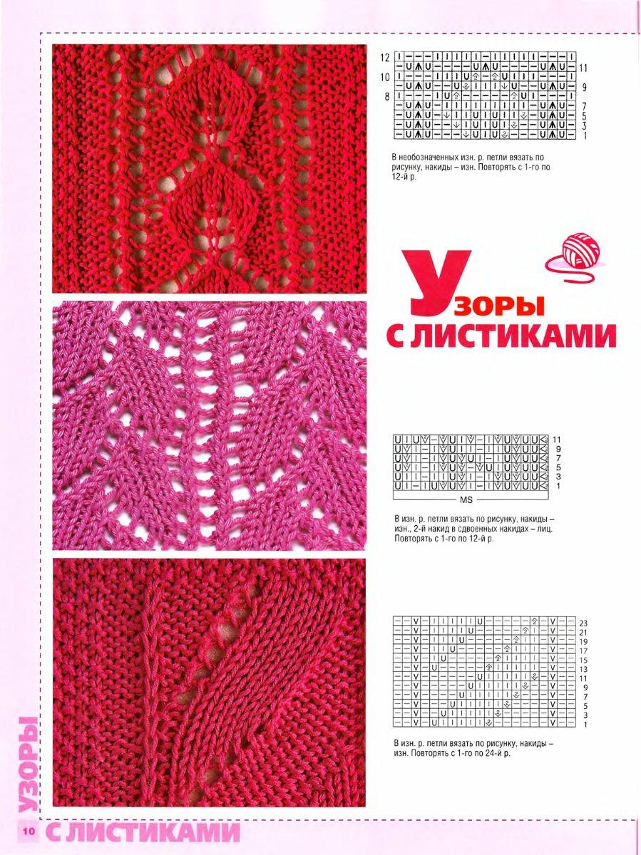 Ажурный узор листья. Воплощение Pinterest Stitch 92